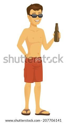 Cool Cartoon beach dude in sunglasses and bathing suit holding a beer bottle - stock vector