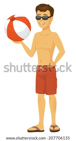 Cool Cartoon beach dude in sunglasses and bathing suit holding beach ball - stock vector