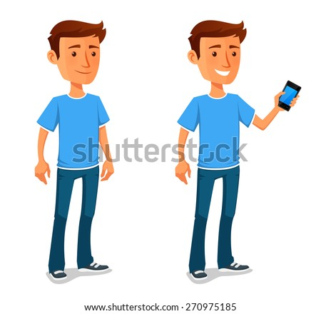cool cartoon guy with cell phone - stock vector