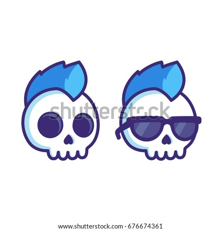 Cool cartoon punk rock skull with mohawk and sunglasses comic style vector illustration for sticker