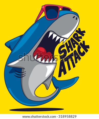 Cool cartoon shark vector design - stock vector