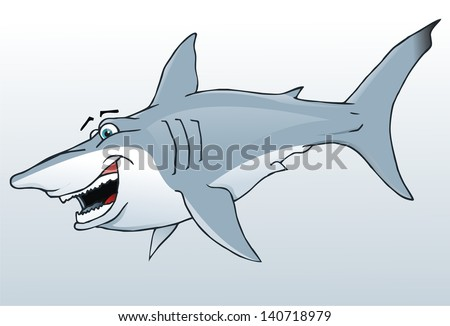 Cool cartoon shark. Vector illustration - stock vector