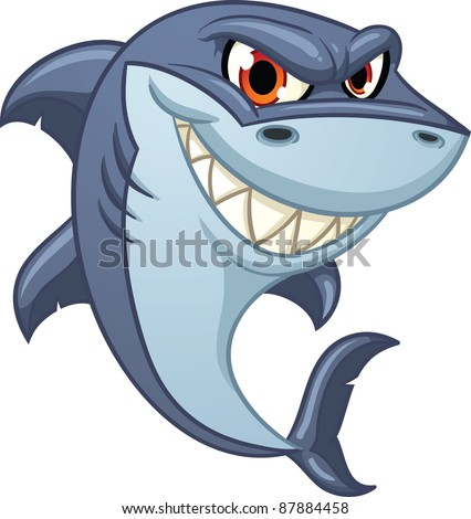 Cool cartoon shark. Vector illustration with simple gradients. All in a single layer. - stock vector