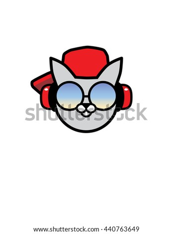 cool cat in sunglasses with hat and headphones - stock vector