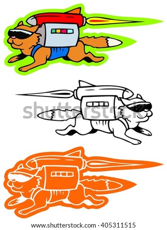 Cool cat with a jet pack - stock vector