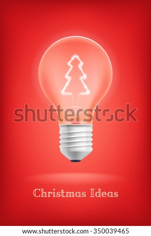 Cool Christmas Ideas abstract vector background with electric light bulb with christmas tree icon filament shining inside and sample text - stock vector