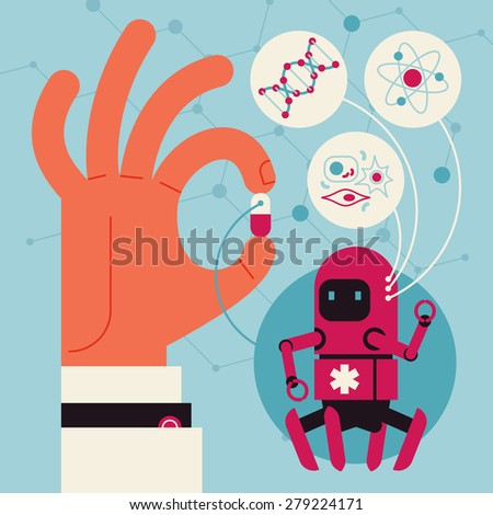 Cool concept vector design on future of healthcare and medicine with hand holding capsule with nano robots inside with main fields of usage highlighted  - stock vector