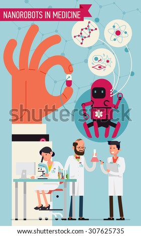 Cool concept vector design on nanorobots in medicine. Science laboratory specialists working on research and exploration tests focused on nanorobots usage - stock vector
