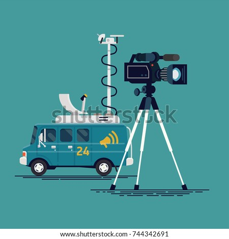 Cool concept vector illustration on live news or mobile TV channel broadcasting station with satellite truck and video camera recorder