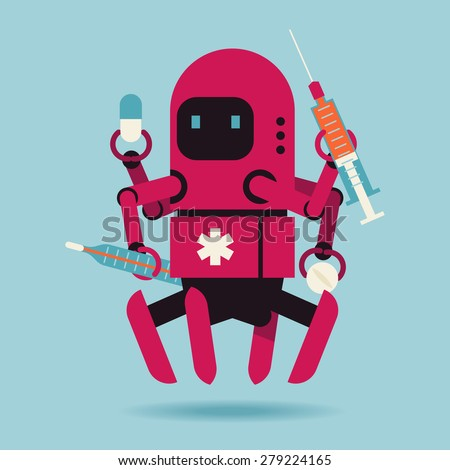 Cool creative character design on futuristic medical nanotechnology multipurpose robot levitating isolated holding pills, syringe and thermometer - stock vector