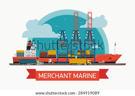 Cool creative vector detailed container ship at freight port terminal unloading | Merchant marine background, boat, cranes, trucks. Ideal for web site or social media network cover profile image - stock vector