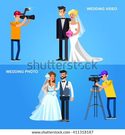 Cool Detailed Character Photographer With Camera And Cute Wedding Couple Vector Beautiful