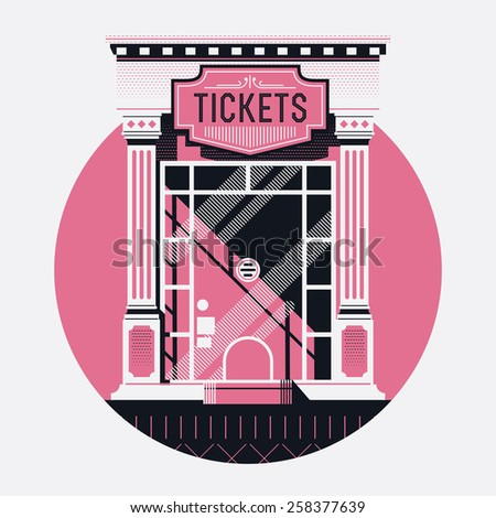 Cool detailed retro style cinema movie theater tickets booth window web icon with circle background. Motion picture box office concept design - stock vector