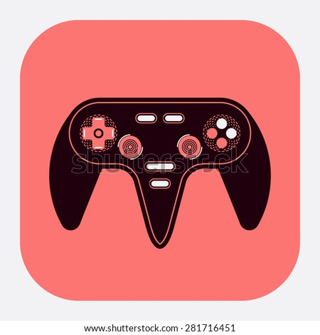 Cool detailed three colored vector web or application icon on game console controller, rounded corners - stock vector