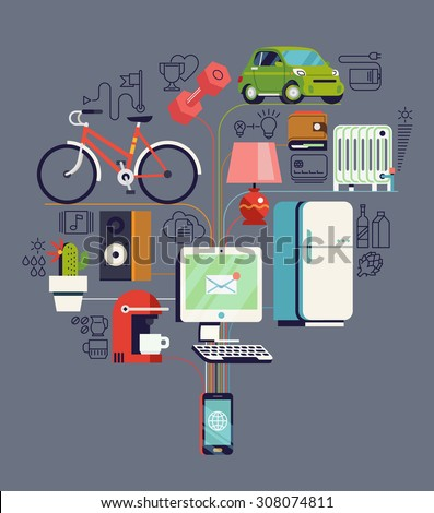Cool detailed vector concept design on internet of things | Future of network high technology in everyday life | Internet of everything - stock vector