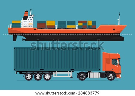 Cool detailed vector design elements on freight transport with loaded container ship and european semi-trailer tractor unit pulling container | Seagoing and road freight commercial cargo web icons - stock vector