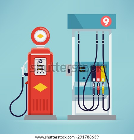 Cool detailed vector flat design modern and retro gas pumps isolated - stock vector