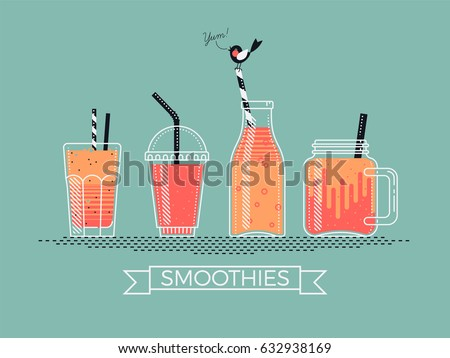Cool detailed vector illustration on various filled smoothie jars, cups, bottles and glasses with drinking straws. Ideal for smoothie and pressed juice bar printables or menu design