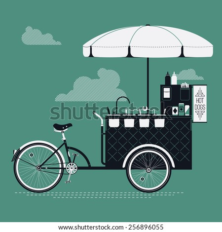 Cool detailed vector street food bicycle cart creative illustration | Mobile retro bike powered hot dog stand with parasol sunshade, topping containers, ketchup and mustard bottles and more - stock vector