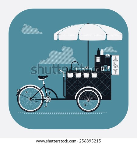 Cool detailed vector street food bicycle cart rounded corners web icon | Mobile retro bike powered hot dog stand with parasol sunshade, topping containers, ketchup and mustard bottles and more - stock vector