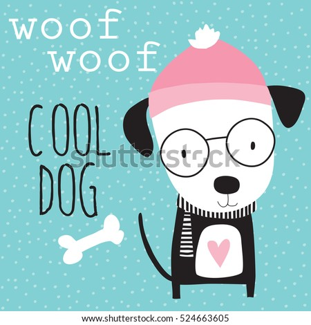 cool dog in winter vector illustration