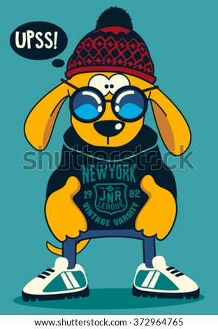 cool dog vector design - stock vector