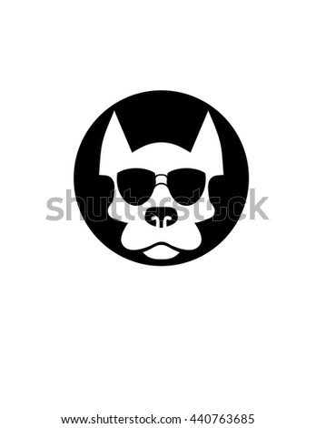 cool dog wearing sunglasses symbol - stock vector