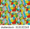 Cool doodles seamless pattern, vector, illustration, freehand pencil, hand drawn, background - stock vector