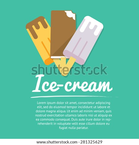 Cool down – summer mood! Collection of three ice-creams in chocolate, vector images. Flat layered modern vector illustration and design element. Refreshing in summer time - stock vector