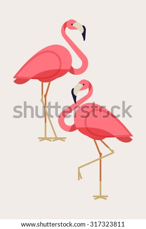 Cool flamingo decorative flat design element | Lovely flamingo vector illustration - stock vector