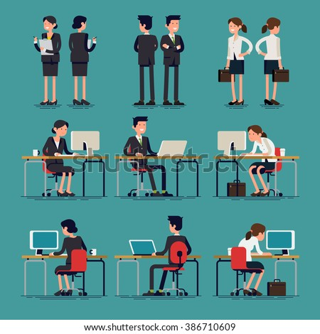 Cool flat design corporate business team people standing and sitting behind desk. Office workers, front and rear view. Men and women in sitting and standing poses - stock vector