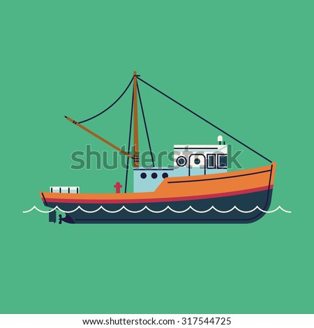 Cool flat design fishing boat seaway transportation web icon | Fishing vessel decorative graphic design element, side view, isolated