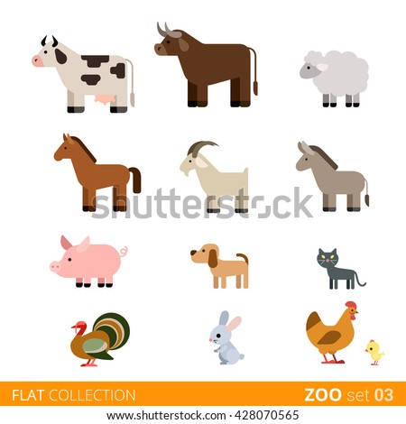 Cool flat design trendy style vector animals icon set. Flat zoo children wild farm domestic animal cartoon collection. Cow bull sheep horse goat pig dog cat pets turkey rabbit hare hen chicken.