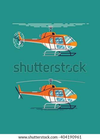 Cool flat design vector transportation design element on helicopter. Airway transfer aircraft helicopter standing and flying isolated illustration - stock vector