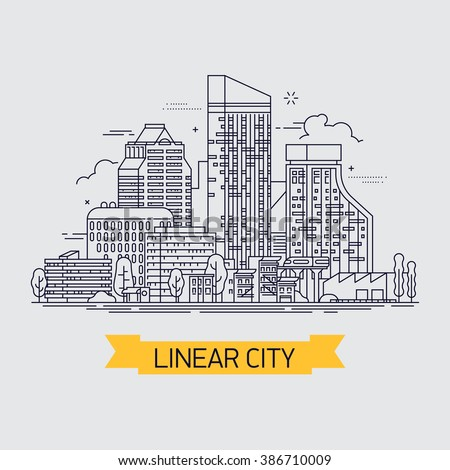 Cool flat line illustration cityscape with downtown houses, commercial buildings and skyscrapers. Urban linear cityscape with trees, isolated - stock vector