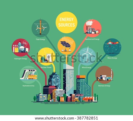 Cool flat vector illustration on electric power for city and urban areas. Energy sources  consumption. Wind, nuclear, solar, hydrogen and other energy use. Electricity usage infographic elements - stock vector