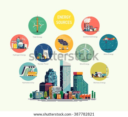 Cool flat vector illustration on energy sources. Electric power for city and urban areas. Wind, nuclear, solar, hydrogen and other energy use. Electricity usage infographic elements - stock vector