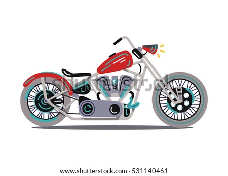 Cool flat vector retro, vintage motorcycle  illustration on white background