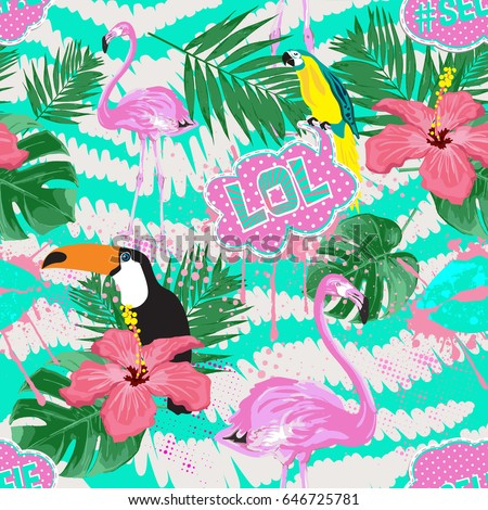Cool Girl Seamless PatternTropical Background With Flamingo Toucan Hibiscus Palm Leaves
