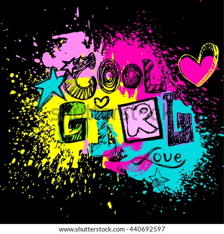Cool Girl To Print T Shirts Hand LetteringBackground With Pink Hearts And
