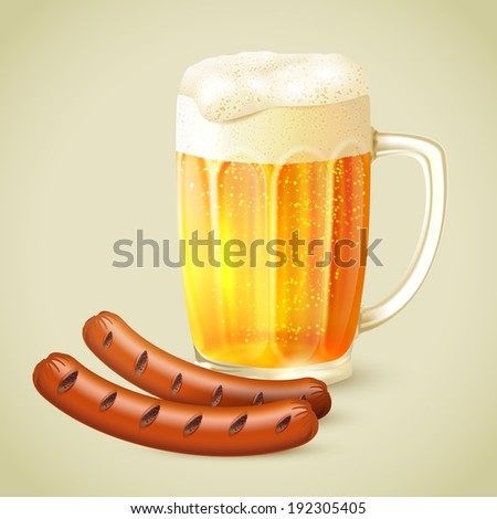 Cool glass mug of cold golden beer with froth and grilled sausage emblem vector illustration - stock vector