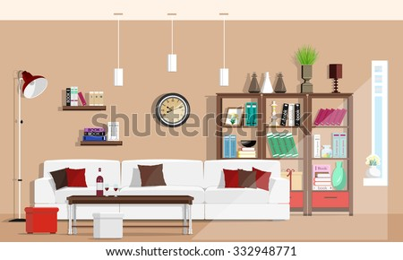 Cool graphic living room interior design with furniture: sofa, chairs, bookcase, table, lamps. Flat style vector illustration - stock vector
