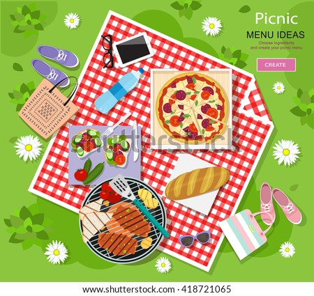 Cool graphic vector concept of picnic for summer vacation with barbecue grill, pizza, sandwiches, fresh bread, vegetables and bottle of water laid out on a red and white checked cloth.  - stock vector