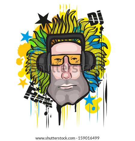 Cool grunge DJ guy with sunglasses and headphones - stock vector