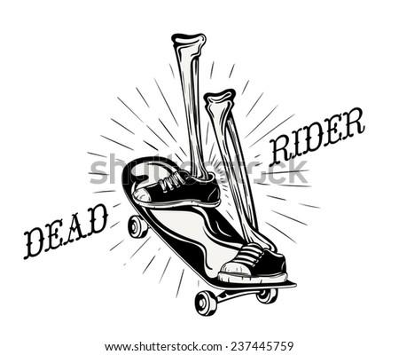Cool grunge logo for a skater shop. Skeleton legs riding a skateboard. - stock vector