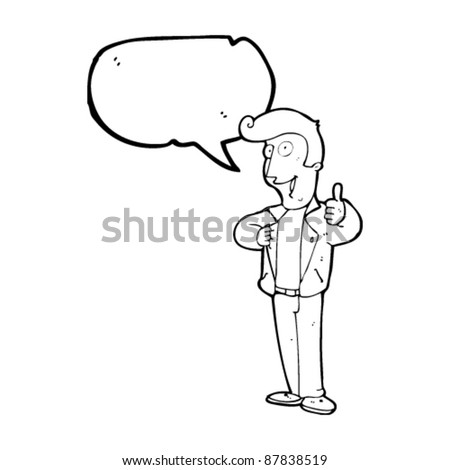 cool guy giving thumbs up sign cartoon