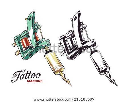 Cool hand-drawn tattoo machine isolated on white. Colored and monochrome variations. Vector illustration. - stock vector