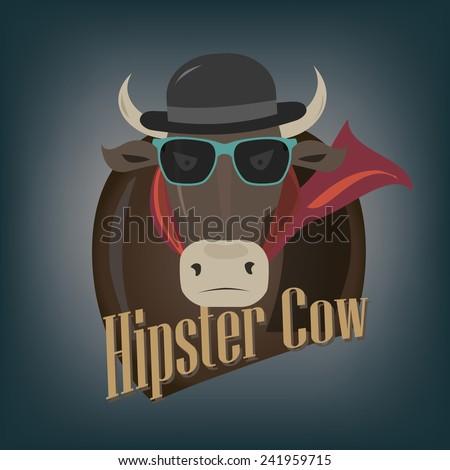 Cool hipster demonic evil cow - illustration - stock vector