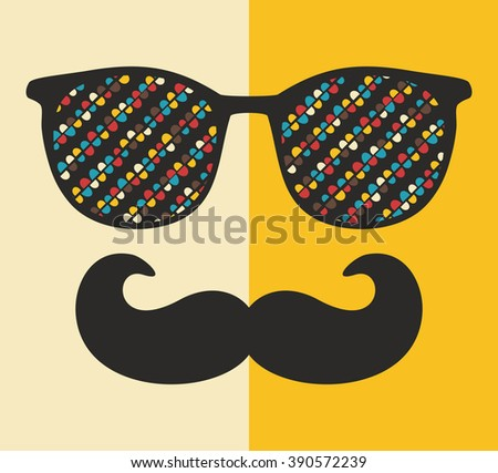 Cool hipster face print of man with sunglasses. Vector illustration of vintage person in glasses with pattern reflection in it.