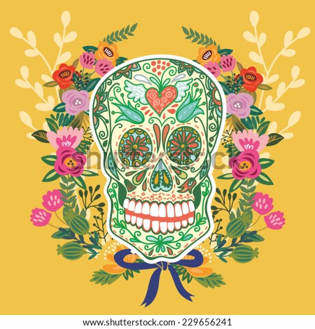 Cool illustration of Skull and floral ornament in bright colors. Fashion skull. - stock vector